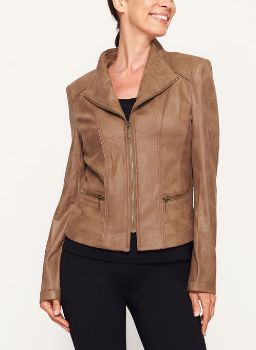 Faux Suede Zipper Trim Jacket, Brown, hi-res