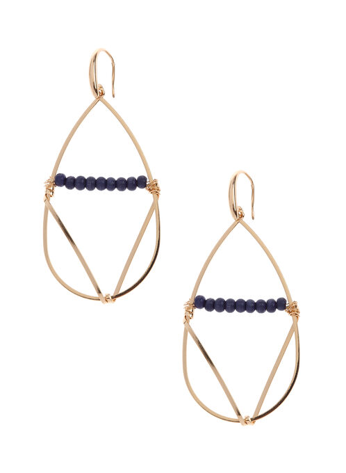 Open Teardrop Dangle Earrings, Blue, hi-res