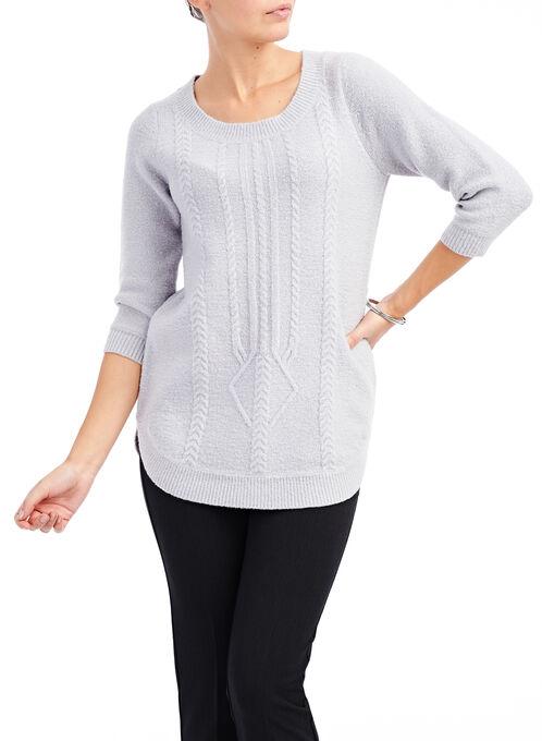 3/4 Sleeve Bouclé Sweater, Grey, hi-res
