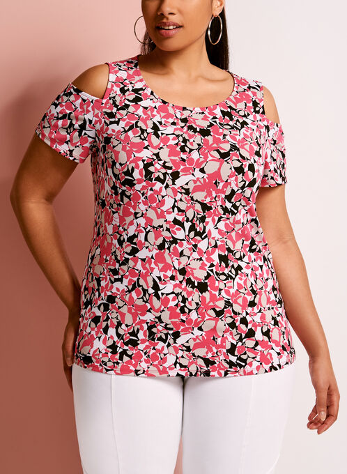 Floral Print Cold Shoulder Top, Red, hi-res