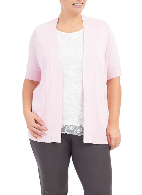 Elbow Sleeve Knit Cardigan , Pink, hi-res