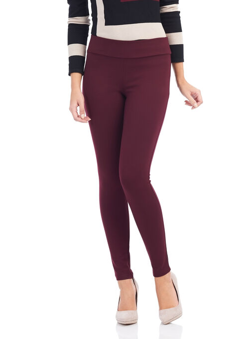 Slim Leg Ponte Leggings, Red, hi-res