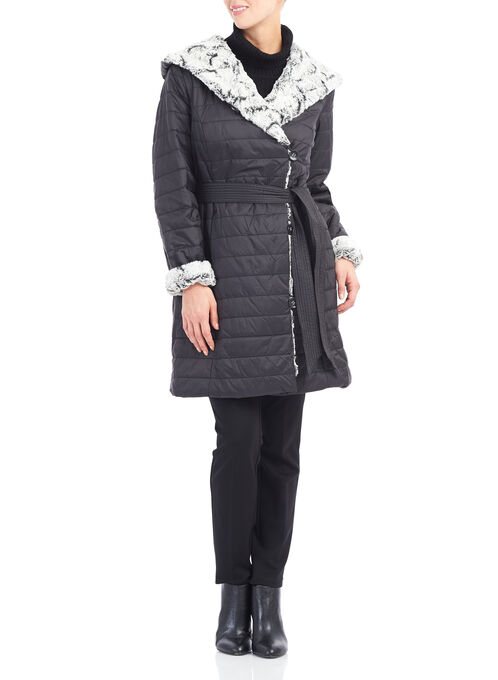Novelti Polyfill Faux Fur Coat, Black, hi-res
