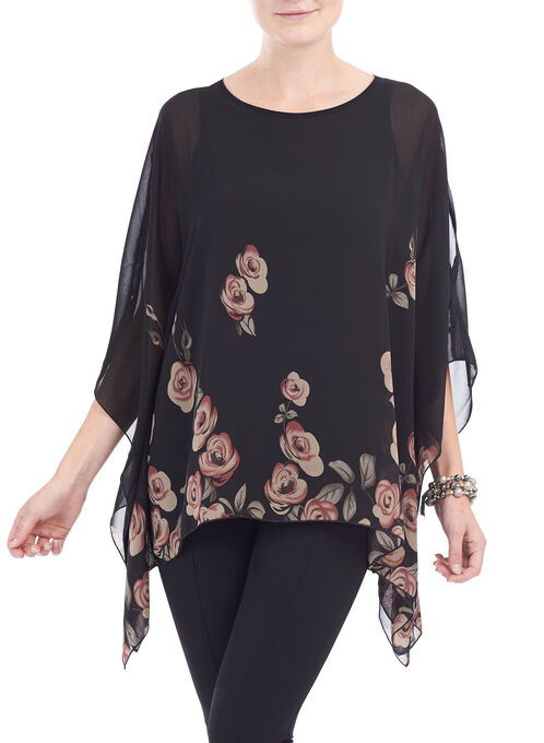 Peek Cold Shoulder Rose Print Poncho, Black, hi-res