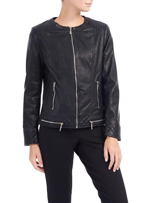 Vegan Leather Moto Jacket, Black, hi-res