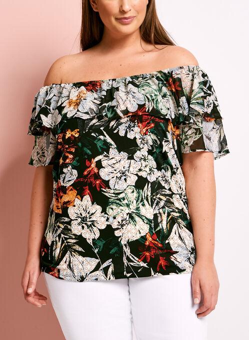 Ruffle Floral Print Off The Shoulder Blouse, Multi, hi-res