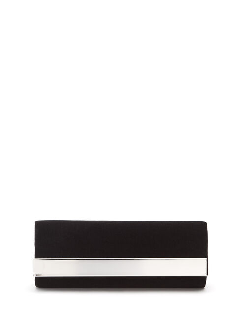 Metallic Trim Velvet Clutch , Black, hi-res