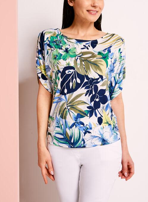 Floral Print Cold Shoulder Top, Blue, hi-res