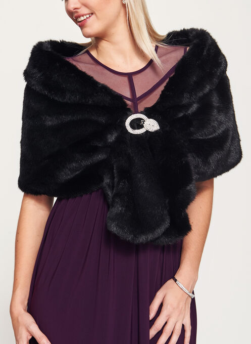 Faux Fur Stole, Black, hi-res