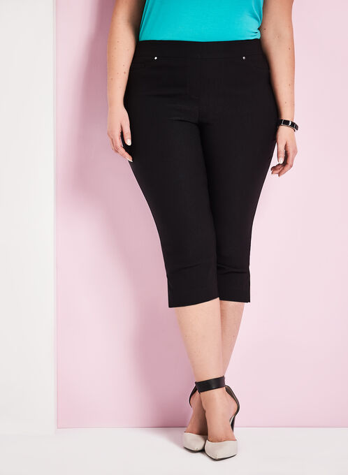 Modern Fit Bengaline Capri Pants, Black, hi-res