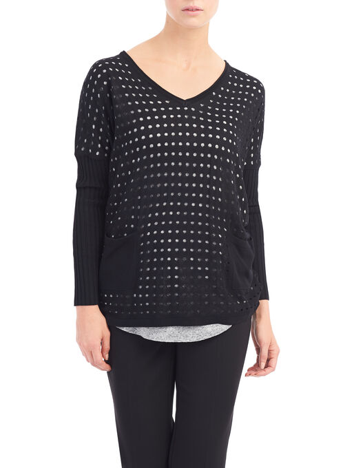 V-Neck Perforated Sweater, Black, hi-res