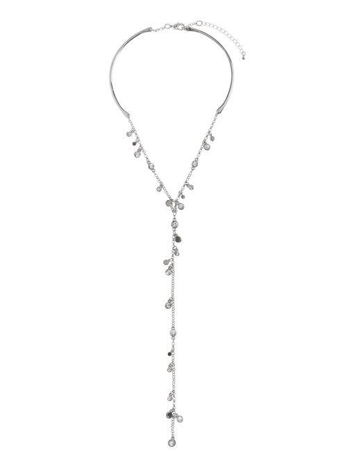 Crystal Y-Necklace , Silver, hi-res
