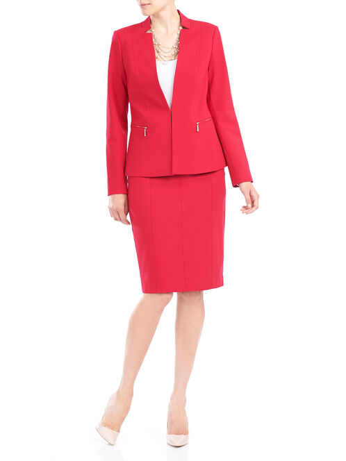 Solid Ponte Blazer, Red, hi-res