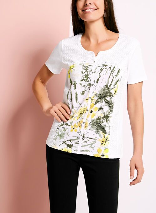 Lace & Floral Print T-Shirt, White, hi-res