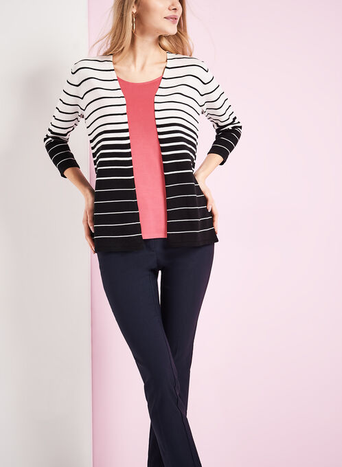 Stripe Print Knit Cardigan, Black, hi-res