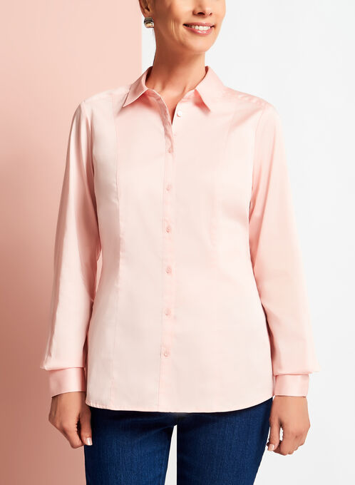 Long Sleeve Button Down Cotton Blouse, Pink, hi-res