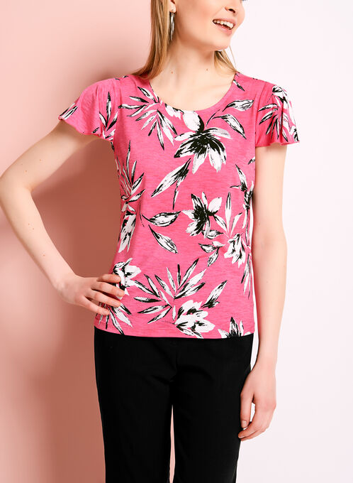 Floral Print Flutter Sleeve Top, Red, hi-res