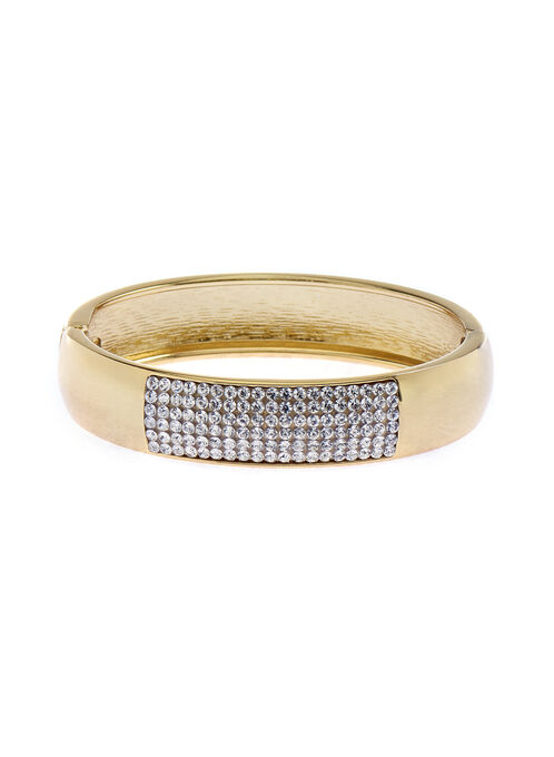 Crystal Embellished Bangle , Gold, hi-res
