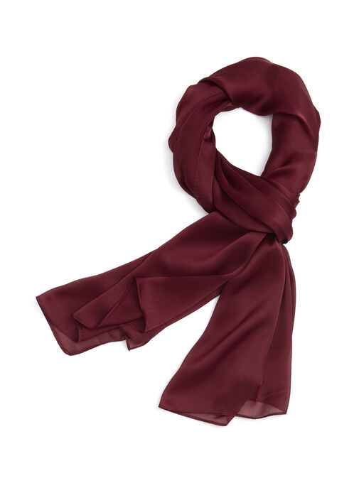Chiffon Oblong Scarf , Red, hi-res