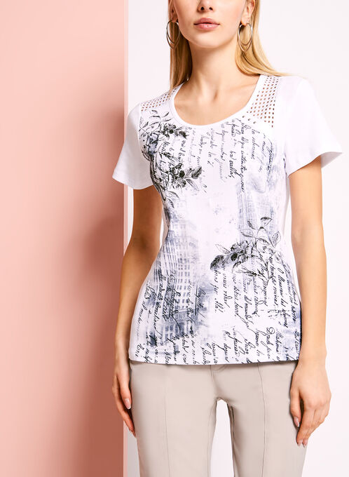 Mixed Media Printed T-Shirt, White, hi-res