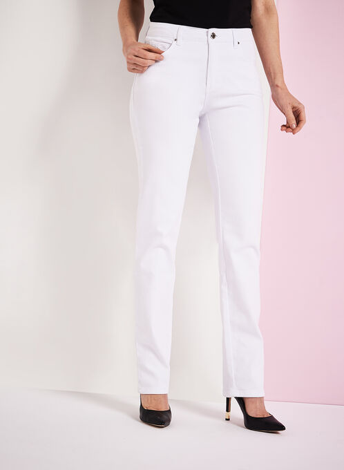 Simon Chang Embroidered Straight Leg Jeans, White, hi-res