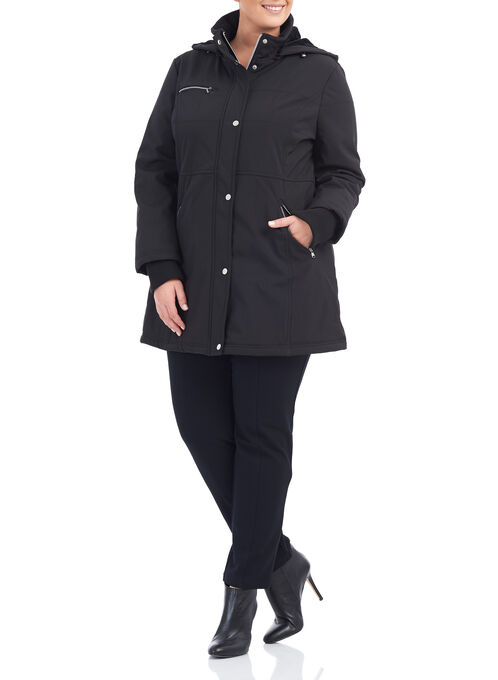 Softshell Detachable Hood Jacket, Black, hi-res