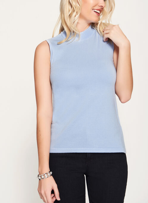 Mock Neck Jersey Knit Top, Blue, hi-res