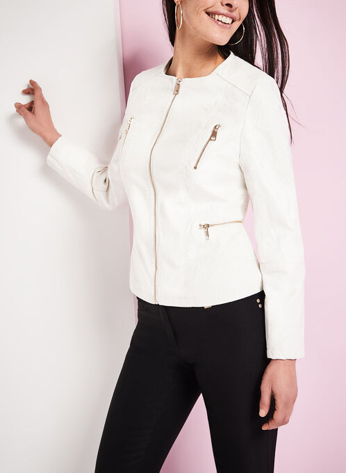 Lace & Faux Leather Jacket , White, hi-res