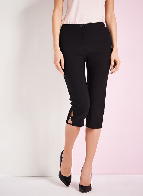 Signature Fit Bengaline Capri Pants, Black, hi-res
