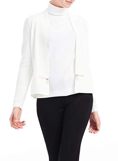 Knit Zipper Trim Cardigan , Off White, hi-res