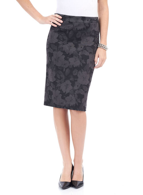 Ponte Floral Print Pencil Skirt , Black, hi-res