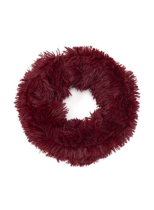Shaggy Faux Fur Loop Scarf, Red, hi-res