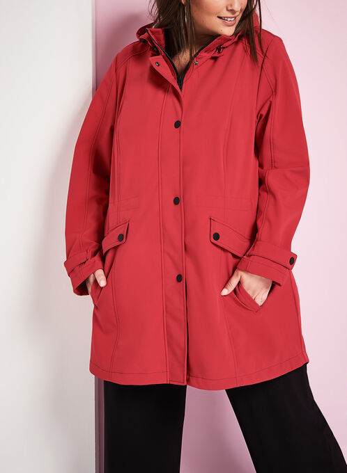 Hooded Jersey Anorak Coat, Red, hi-res