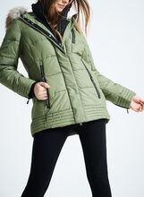 Chillax Faux Fur Polyfill Coat, Green, hi-res