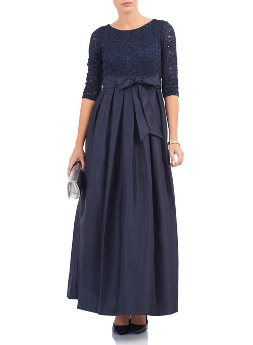 3/4 Sleeve Sequined Lace Gown , Blue, hi-res