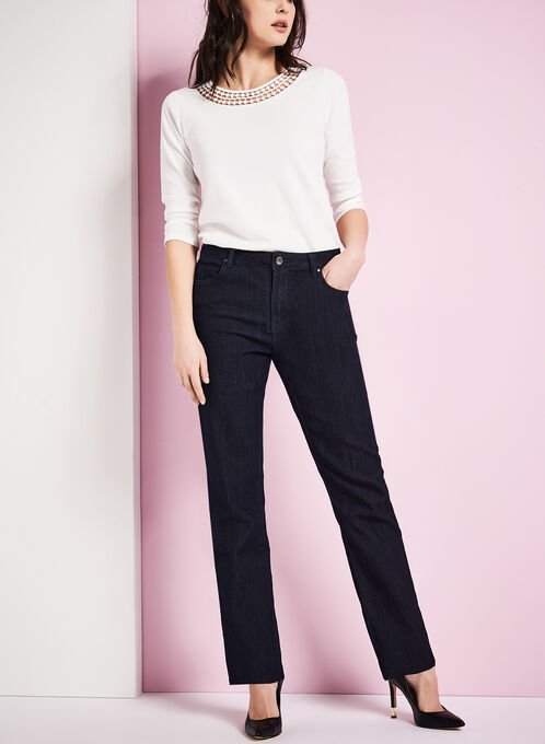 Simon Chang Straight Leg Jeans, Blue, hi-res