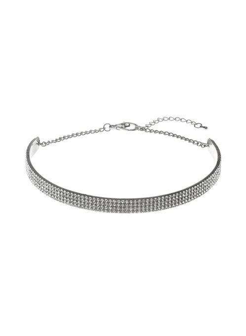 Crystal Embellished Choker, Silver, hi-res