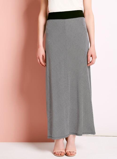 Mitered Stripe Print Maxi Skirt, Black, hi-res