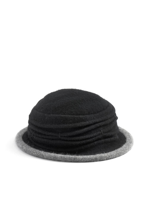 Wool Accordian Cloche Hat , Black, hi-res
