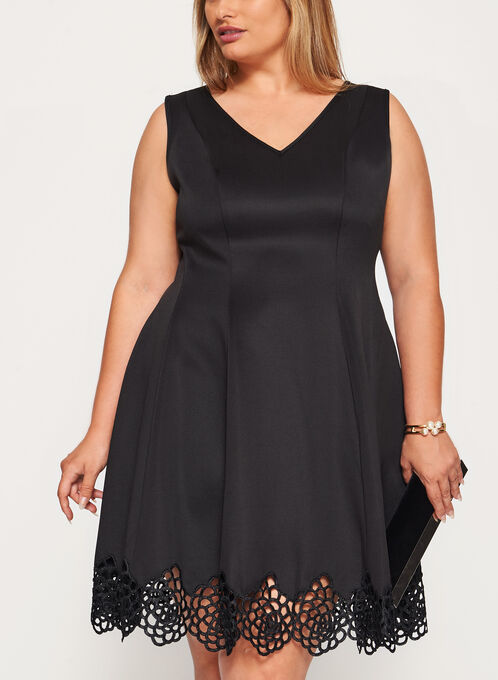 Fit & Flare Dress with Crochet Trim, Black, hi-res