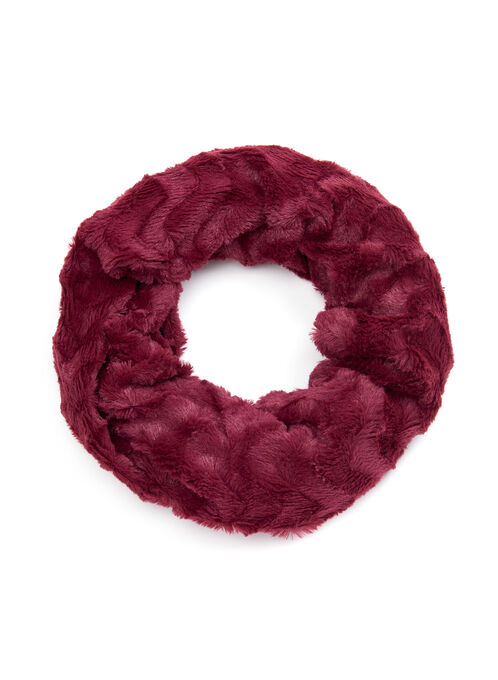 Wave Pattern Faux Fur Loop Scarf, Red, hi-res
