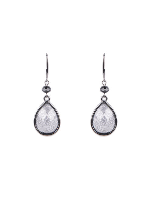 Teardrop Glitter Earrings , Grey, hi-res