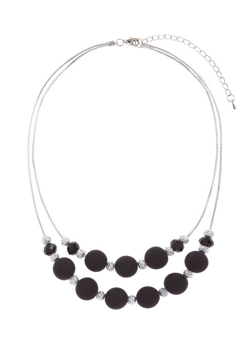 Contrast Double Row Necklace, Black, hi-res