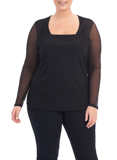 Square Neck Mesh Blouse , Black, hi-res