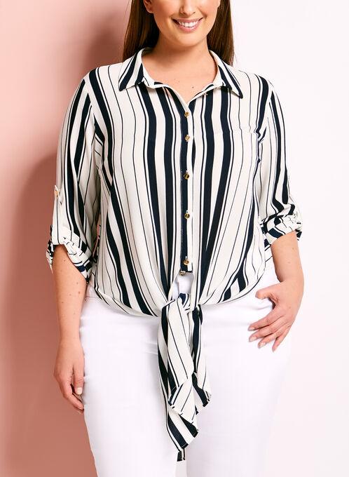 Frank Lyman Button Down Stripe Print Tunic, White, hi-res