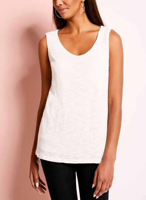 Sleeveless Slub Knit Tank Top, White, hi-res