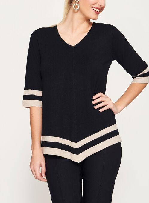 Stripe Print V-Neck Sweater, Black, hi-res