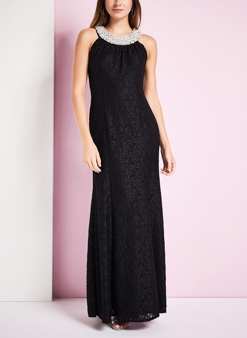 Cleo Neck Glitter Lace Gown, Black, hi-res