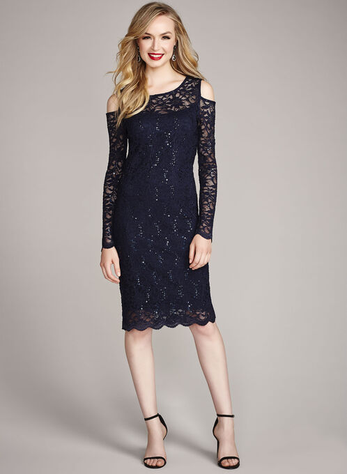 Sequin Lace Cold Shoulder Dress, Blue, hi-res