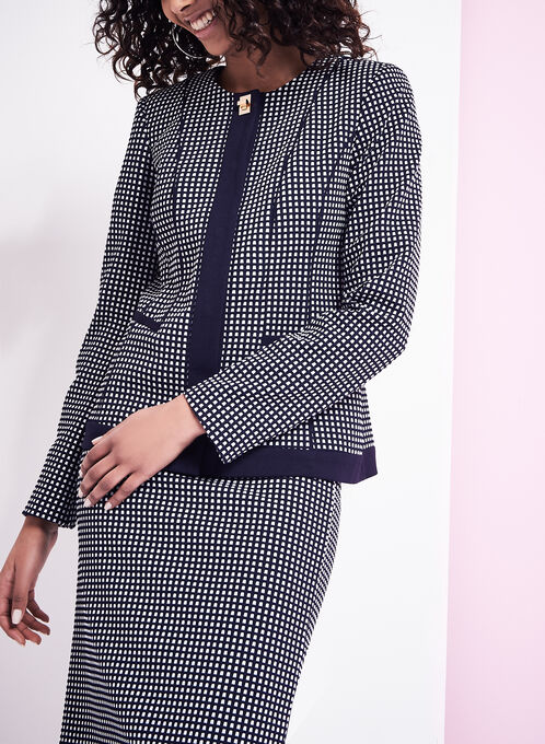 Knit Dot Print Jacket , Blue, hi-res